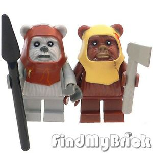 R7-Lego-Star-Wars-2x-Ewok-Minifigures-Chief-Chirpa-amp-Paploo-10236-8038-NEW