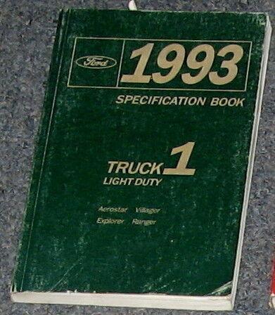 1993 Ranger Explorer Villager Aerostar Spec Book Manual