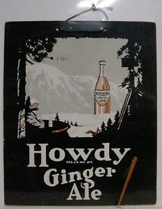1920-039-s-Howdy-Ginger-Ale-Cardboard-Sign-St-Louis-MO