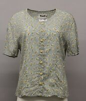 Vintage Flax Chiffon Print Sheer Basically Buttoned Shirt Blue Petal Small 7- 10
