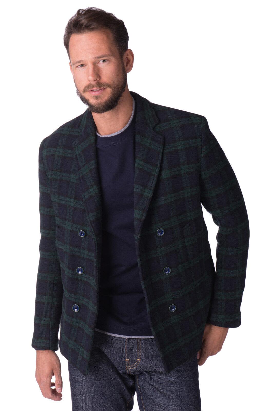 VINCENT TRADE Wool Blend Peacoat Größe 52 / XL Tartan Made in
