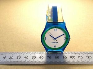 Nokia-Fanboy-Watch-Early-2000-039-s-Blue-and-Green-Nokia-Branded-Plastic-Wristwatch