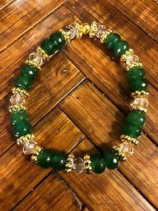 Stunning-5x8mm-Dark-Emerald-Clear-Crystals-amp-Bali-Gold-Beads-Stretch-Bracelet
