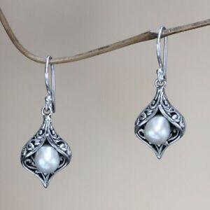 Nice-Women-925-Silver-White-Pearl-Hook-Drop-Dangle-Party-Jewelry-Earrings-Gift