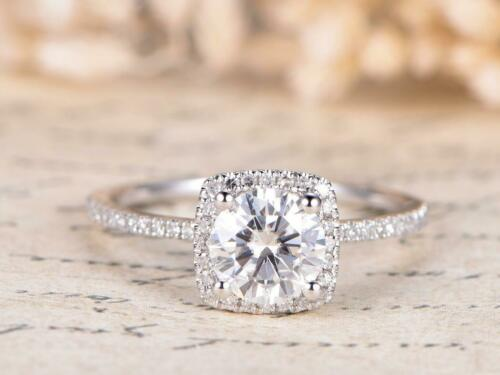 Details about  /1.30Ct Round Colorless Moissanite Four Prong Engagement Ring 14K White Gold Over