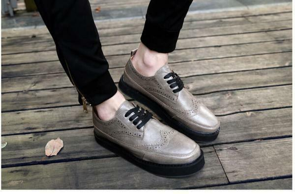 Vintage Men/'s Wing Tip High Creeper Platform Casual Lace Up Brogue Oxfords Shoes