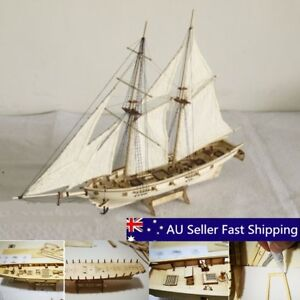DIY Scale 1 100 Wooden Small Sailboat Ship Kit Home Model Decoration Boat Gift