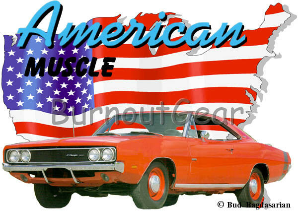 1969 ROT Dodge Charger Custom Hot Rod USA T-Shirt 69 Muscle Car Tees