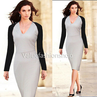 Women Celeb Colorblock Slim Fitted Cocktail Evening Bodycon Dress Size S M 16