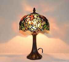 "8""W Grape Vine Stained Glass Tiffany Style Table Desk Lamp, Zinc Base!"