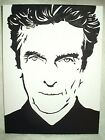 Canvas Painting Peter Capaldi Outline Portrait B&W Art 16x12 inch Acrylic