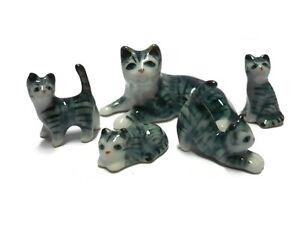 5 Tiny Family Grey /White Striped Cat Dollhouse Miniature  Animal Figurines