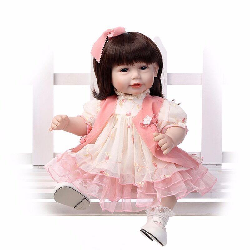 20  Bebe Muñecas Reborn Bebé niñas Ojos Azul Vestido rosado Vinilo De Silicona Para Niños De Regalo