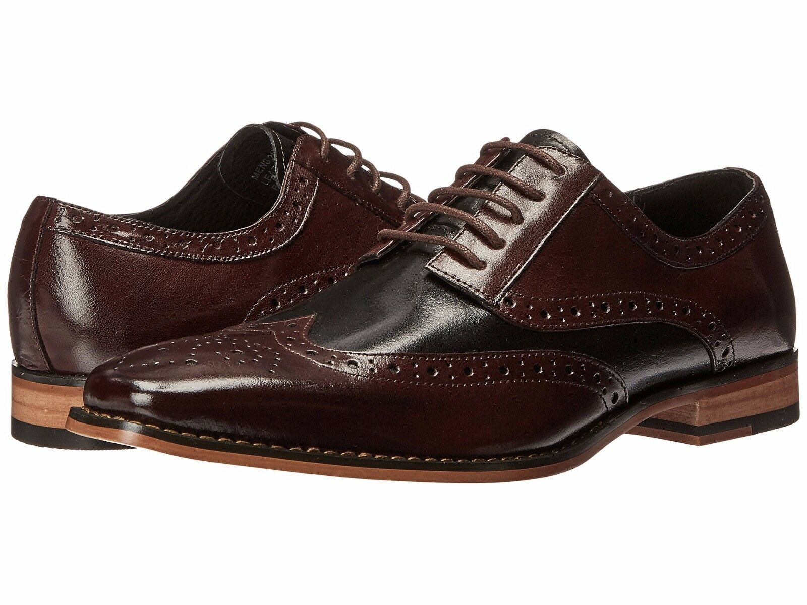 Men's shoes Stacy Adams Tinsley Leather Wingtip Oxford 25092-641 Burgundy Multi