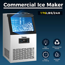 New Listing176lbs Built In Commercial Ice Maker Undercounter Free Stand Ice Cube Machine Us