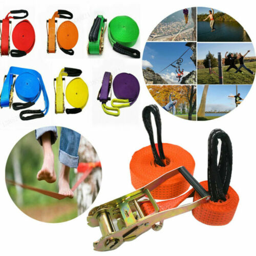 Outdoor 50Ft//15M Slackline Complete Kit Extreme Sport Balance Trainer Flat Band