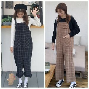 57c0ccb8827e4c Image is loading Lady-Check-Corduroy-Jumpsuit-Dungaree-Overall-Harem-Pants-