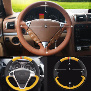 Custom Pu Leather Steering Wheel Cover Stitch On Wrap For Porsche