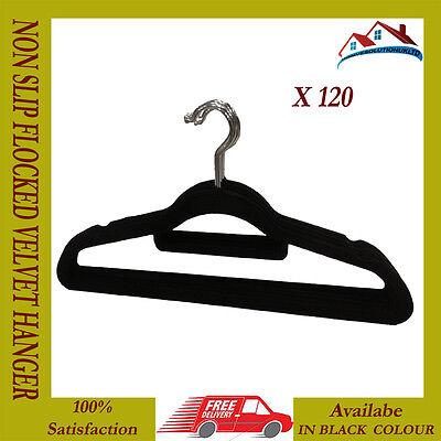 Bellissimo 120 X Nuovo Nero Anti Scivolo Staffa Velluto Floccato Cappotto Panno Pantalone Appendere Staffa-mostra Il Titolo Originale