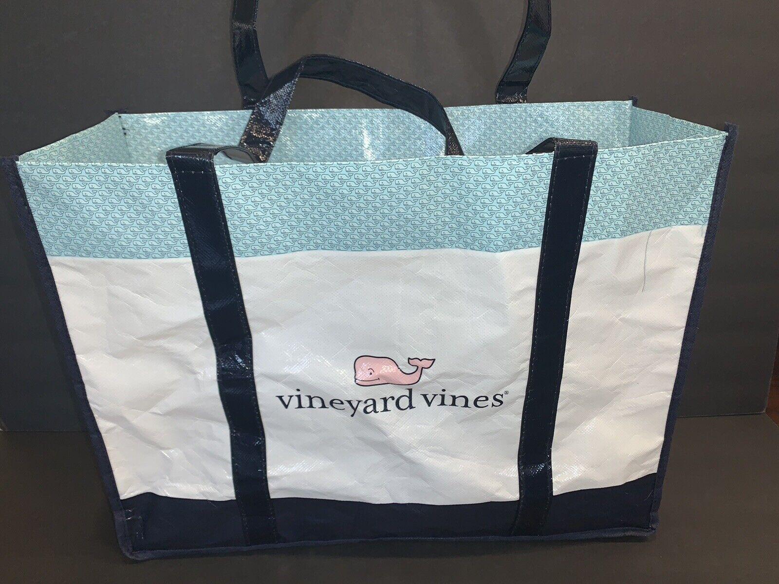 "Vineyard Vines Plastic Tote Bag Reusable Shopping Bag 13/"" x 9/"" with Handles"