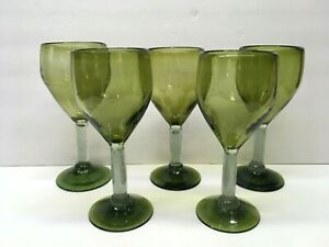 Lot-of-FIVE-Large-Heavy-Hand-Blown-Glass-Wine-Glasses-Goblets-Avocado-GREEN