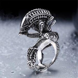 Klassisch-Gothic-Liebe-Silber-Totenkopf-Biker-Alien-Predator-Ring-flYfE
