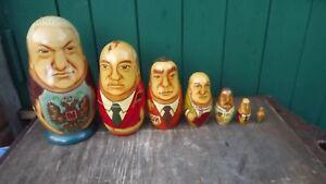 Acheter Pas Cher Rare 1992 Mockba Set De 7 Empilable Les Dirigeants Russes En Bois Poupées Dont Le Tsar-afficher Le Titre D'origine