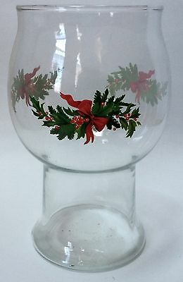 Pfaltzgraff Christmas Heritage Floating Candle Holder Glass Holly Berries