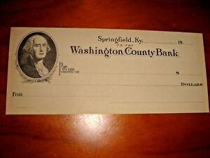 USA Washington County Bank, obsolete blank check, UNC