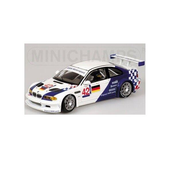 Minichamps 1 18 M3 GTR ELMS Jarama 2001 Lehto J.Muller bianca blu