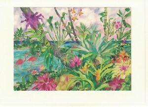 Eileen-Seitz-Strolling-Flamingos-ArtCard-Hand-Mounted-5x7-Print-Blank-Card