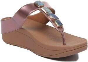 fac9bdabf9f Fitflop Fino Shellstone Women Rose Gold Wedge Toe Thong Sandals UK ...