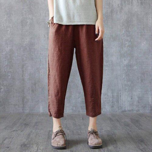 Women/'s Casual Pants Wide Leg Loose Pocket Elastic Waist Retro Cropped Trousers