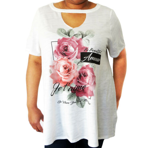UK Summer Womens Floral Tops Blouse Ladies Short Sleeve Tops Plus Size 20-32
