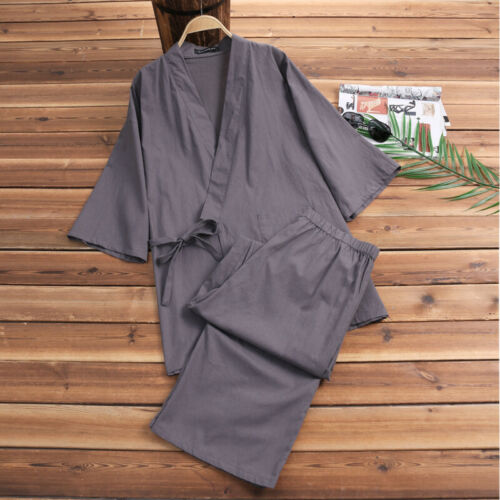 INCERUN Men Cotton Linen Loose Kimono Robe /& Pants Set Pajamas Japanese Style