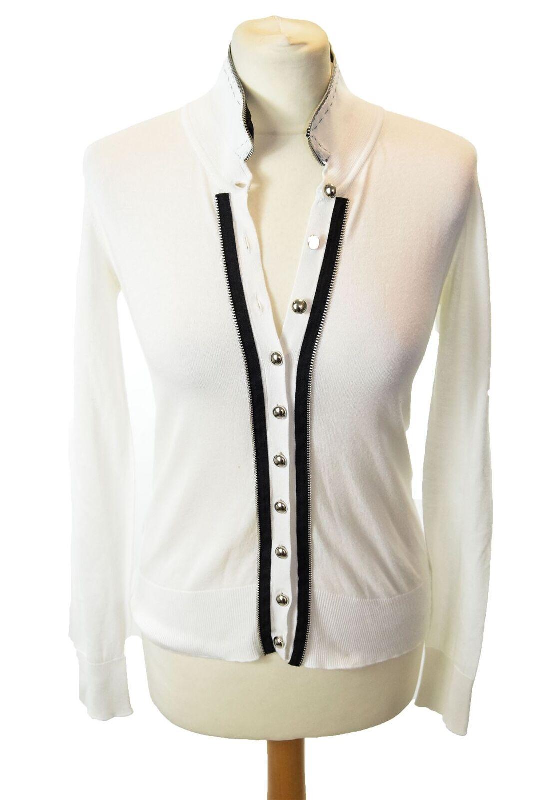 CLEMENTS RIBEIRO White 100% Cotton Cardigan, Size S