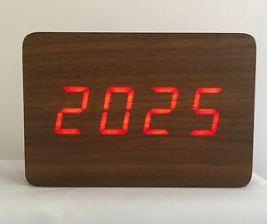 Block-The-Wooden-LED-Clock-Brown-with-Red-LED
