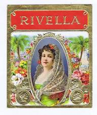 Rivella, original outer cigar box label, woman in veil