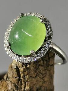 Ice Green Burmese Jadeite Jade Ring/冰种晴绿天然缅甸翡翠戒指/ナチュラルビルマ翡翠リング