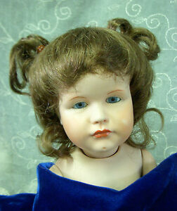 Blonde or light brown mohair wig for antique bisque baby toddler doll size 14-15