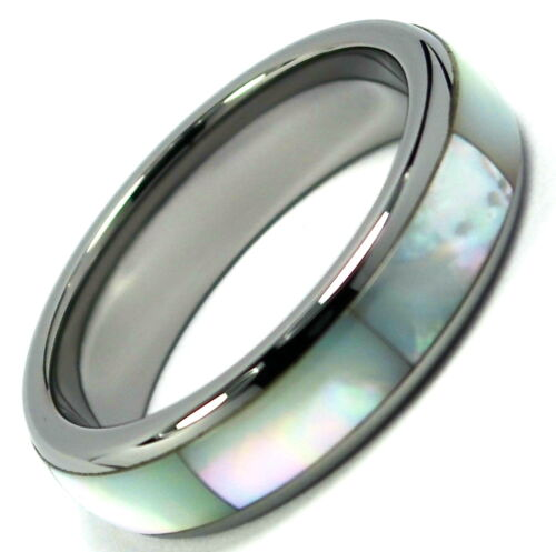Tungsten Carbide Ring Wedding Band Mother in Pearl Inlay Titanium Color Dome 6mm