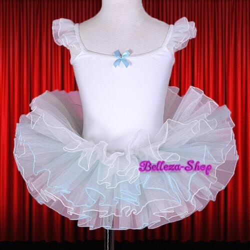 Cap Sleeves Girl White Ballet Tutu Dance Costume Pageant Dress Size 6-7 BA042