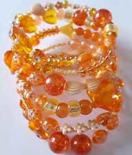 New Handmade Multi Coiled Orange Beaded Memory Wire Bracelet Wrap Around Bangle