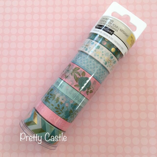 new recollections planner washi tape tube set honeydew flower pink gold foil
