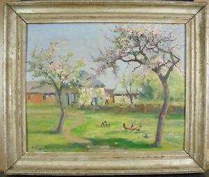 L-J-Albert-Coignard-Galline-sotto-di-Ciliegio-Hens-Under-Cherry-Trees-Hsp-c1900