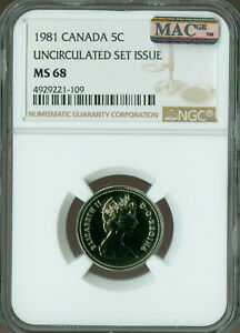 1981-CANADA-5-CENTS-NGC-MAC-MS-68-PQ-2nd-FINEST-GRADED-SPOTLESS