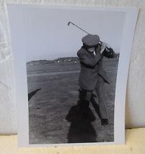 B & W 2ND GENERATION PHOTO-J H TAYLOR SWINGING A GOLF CLUB AT AGE 80