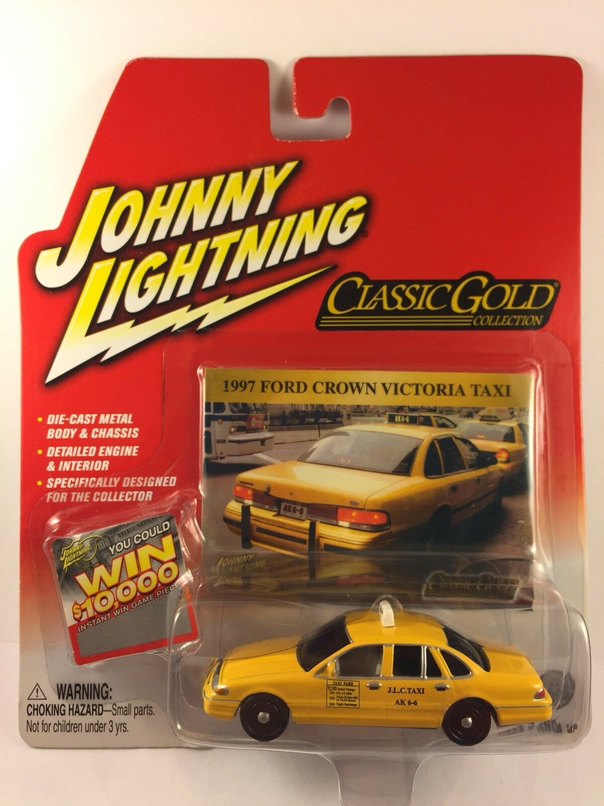 Johnny Lightning White Lightning '97 1997 Ford Crown Victoria Yellow Taxi 1 64