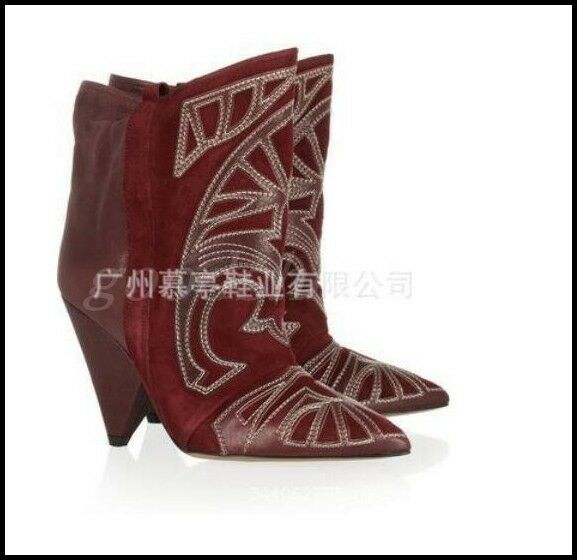 Occident Womens Suede Leather Ankle Boots Pointy Toe Cone Heel Heel Heel Runway shoes SIZE b8769e