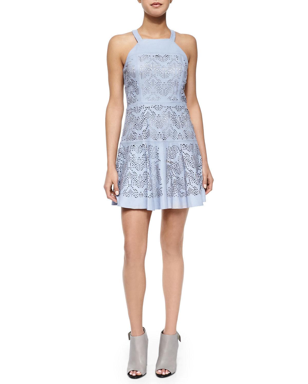 Parker  Sabella  Leather Laser-Cut Mini Dress, Periwinkle SIZE S    () E1108